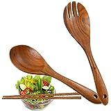 Veraing Salatbesteck Holz, 2 Stück Löffel Gabel Olivenholz 10,2 Zoll Holz Servierlöffel Set Holzbesteck Salatgabel Salatlöffel Küchenhelfer Olivenholz(10,2 Zoll)