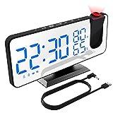 XDHEK Wecker, Digital Wecker mit Projektion Radiowecker/Uhrenradio Dual-Alarm Snooze mit USB Anschluss 180 ° Zeitumkehr 4 Helligkeit Automatischem Dimmer 12/24H Spiegelbildschirm