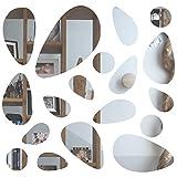 Anladia Spiegelfliesen Wandspiegel Selbstklebend Wandaufkleber, 18 TLG Kiesel-Spiegel DIY Dekospiegel für Wohnzimmer, Kinderzimmer, Badezimmer, Schlafzimmer, Bü