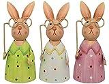 Pommerntraum ® | 3-er Set!!! Zaunhocker Zaunfiguren Pfostenhocker Dekorationsfiguren Gartendekoration Hasen Osterhasen mit Brille