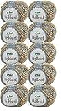 500g Wollpaket Gründl Highland, Wolle Paket 10 x 50g Farbe 02, Schnellstrickwolle mit Farbverlauf, zum Stricken oder Häkeln