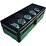 Grüne 5 Slots Aluminium-Uhr-Aufbewahrungskoffer, Watch-Dislpay-Box-Organizer mit großem Glasfenster und einem Sicherheitsmetallschloss, tragbarer Rechteck-Uhren-Anzeige-Koffer für Männer und Frauen