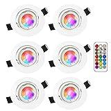 RGB LED deckenstrahler einbauleuchte,5W RGB lampen einbaustrahler,fernbedienung dimmbar,warmweiße beleuchtung und farbige beleuchtung,einbauspot,led einbaustrahler rgb,rundes weiß einstellbar(6pack)