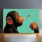 Leinwanddrucke Cartoon Rauchender Orang-Utan AFFE Poster und Drucke Wandkunst Bilder für Wohnzimmer Dekor Cuadros 60x90cm (60x90cm) Rahmenlos