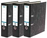 Elba Ordner A4, Wolkenmarmor Recycling, schwarz, 3er Pack, 400150978, a4, b