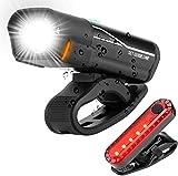Fahrradlicht LED Set, StVZO Zugelassen USB Wiederaufladbare Fahrradbeleuchtung fahrradlichter Set, Wasserdicht Frontlicht und Rücklicht Set Licht für Fahrrad Fahrradlichter-4