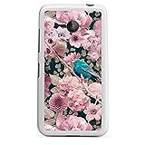 DeinDesign Silikon Hülle kompatibel mit Nokia Lumia 630 Dual SIM Case weiß Handyhülle Spatz pink Blumen