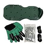 DOILE Spikes mit Handschuhen, Gartenlockerung und Rasenbelüfter, Epoxid-Bodenspikes, verstellbare Schnürsenkel, für Belüftung von Boden und Gras des Rasens (4,5 cm Schuhspikes, grün)