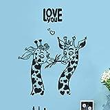 WERWN Giraffe Wandtattoos Afrikanische Wildtier Aufkleber Design Kunst Büro Home Dekoration Vinyl Wandaufkleber Schlafzimmer Kinderzimmer