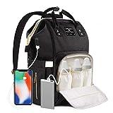 ComfyDegree Baby Wickelrucksack Wickeltasche, Multifunktionale Wasserdichte Babytasche für Mama und Papa, Oxford Windelrucksack mit USB-Ladeanschluss, Kinderwagengurte, Wärmetaschen R
