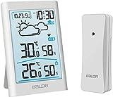 BALDR Wetterstation Funk mit Außensensor, Digital Thermometer Hygrometer Innen und Außen Raumthermometer Feuchtigkeit mit Wettervorhersage, Uhrzeitanzeige, Wecker und N