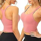 BOQ Sport-BH für Damen und Mädchen, gepolstert, für Fitness, Workout, Laufen, Yoga, Fitnessstudio, Tank-Top, drahtlos, gepolstert mit abnehmbaren Cups - Pink - 65D 65E 70A 70B 75A/M