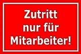 Melis Folienwerkstatt Aufkleber – Zutritt nur für Mitarbeiter - 30x20cm – S00080-129-D 20 VAR
