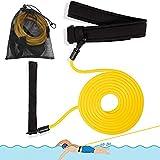Pool Schwimmgürtel, Schwimmtraining Gürtel, Schwimmgürtel Erwachsene, Schwimmwiderstand Gürtel, Schwimmtraining Bungee, Einstellbare Pool Schwimmgürtel für Erwachsene/Kinder/Profis(4M)