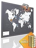 VACENTURES Magnetische Pinnwand Weltkarte XL'DARK' inkl. 2 x 15 magnetische Pins I Markiere Deine Reiseziele I Sammel Fotos und Magnete I Magnet Poster DIN A1 - world map