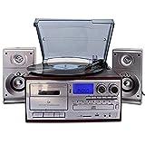 Bluetooth Viny Plattenspieler Plattenspieler, CD, Kassette, AM/FM-Radio und Aux-In mit USB-Anschluss & SD-Codierung-Fernbedienung, eingebauter Stereo-Lautsprecher, eigenständiger Musik-Player, mit Fe