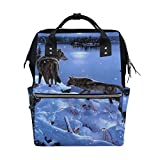 LINDATOP Wickeltasche mit Aufdruck 'Wolf im Schnee' und Wickeltasche, großes Fassungsvermögen und multifunktional, stilvoll und langlebig, Stilltasche