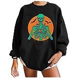 Damen Crewneck Sweatshirt Totenkopf Fledermaus Grafik T Shirts Langarm Top Pullover Oversized Pullover, Schwarz , 42