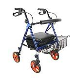 jjff Faltbarer 4-Rad Rollator Walker, Leichter Transport Rollator Walker mit gepolstertem Sitz, Ergonomische Griffe, Mobilitätshilfe für Erwachsene, Senioren, Senioren & Handicap
