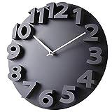 PFLife Wanduhr groß Uhrwerk für 3D-Design modern, Schwarz Weiß Uhr 14 inch/35cm Ideale Innendekoration für Wohnung Küche Kinderzimmer (Schwarz)