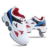 SHANGN Rollschuhe Verstellbar Kinder Inline-Skate, 2-in-1-mehrzweckschuhe, Verstellbare Quad-rollschuh-Stiefel,Blue-37