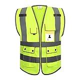 RYACO Warnwesten Auto, Warnweste Sicherheitsweste, 360 Grad Gut Sichtbar Reflektierende Warnschutzweste für Auto KFZ Fahrrad Motorrad mit Hohem Risiko, Waschbar, Neongelb