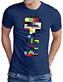 OM3® Testbild-Tetris T-Shirt - Herren - Video Game Analog Fernseher TV - Royal Blau, L
