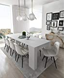 COMFORT Home Innovation- Konsoletisch, Esstisch ausziehbar bis 237 cm, Esszimmertisch und Wohnzimmertisch, rechteckig, weiß glänzend, Maße geschlossen: 90x50x78 cm hoch. Bis zu 10 Sitzplätze.