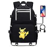 Teenager College Schule Pikachu Serie Casual Daypack, passt 15' Laptop Tablet, USB-Ladeanschluss 17 Zoll Stil-15