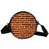 Bennigiry Damen Handtasche/Umhängetasche, rund, Ziegelmauer, mit Tragegriff, für Mädchen