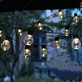 Wandskllss Solar Outdoor Gartenlicht Warme Farbe Lichterkette Wasserdichte Led Lichterkette Kristallkugel Dekoratives Licht 20 Led Glühbirne GartenlichtWarm20 Leuchten
