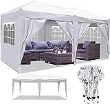 Pavillon 3x3m/3x6m Wasserdicht Zelt Partyzelt Faltpavillon Gartenzelt für Garten Markt Camping Hochzeiten Festival mit 4 Seitenteilen UV-Schutz 50+ (Weiß, 3x6m)