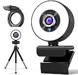 2K Webcam mit Mikrofon, AceScreen Full HD Facecam Live-Streaming Webcams mit Ringlicht, Stativ, 360° Schwenkradius, USB Kamera für PC, Videochat-Aufnahme, Mac, Laptop, Zoom, Skype