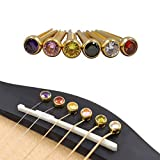 Rayzm Gitarrenbrückenstifte, Messinggitarren-Endstift-Set, 6 PCS Crystal Head-Gitarrensaiten mit festem Kegel, verschiedene farbige Gitarrennag