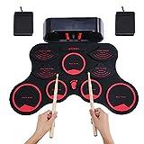Tragbares elektronisches Schlagzeug-Set,aufrollbares Schlagzeug Pad mit Kopfhörern und integrierten Lautsprechern,Drumsticks Kopfhörer USB/Akku-Ladegerät ideal für Kinder/Anfänger (rot)
