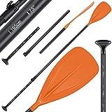 KESSER® Paddle - 3-teilig für Kayak SUP Stand-Up Paddling Board Stechpaddel, Verstellbar Teleskop 165cm-215cm Aluminum für Stand Up Paddel Kajakfahren Surfboard Boot Anti-Rutsch Stecksystem, Orange
