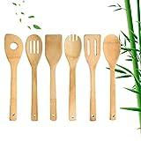 ZWWZ 6-teiliges Küchengeschirrset aus Bambus und Holz,Kochgeschirrset aus Holz ist leicht zu reinigen,Bambus und H