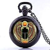 Taschenuhr-Anhänger im Vintage-Stil, antikes ägyptisches Skarabäus, handgefertigt, mit Halskette, Schwarz