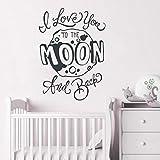Kindergarten Zitat Wandaufkleber Ich Liebe Dich Bis Zum Mond Und Zurück Zitat Wandaufkleber Kinder Schlafzimmer Dekoration Vinyl Mond Wandtattoo 30X42C