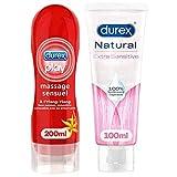 Durex Gleitgel – Massage Ylang Ylang 200 ml – Natürliches Gel mit Aloe Vera 100 ml – 2 Stück
