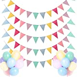 Dusor Wimpelkette Outdoor, Wimpelkette 5Stück 60Pcs Wimpel Girlande + 18Pcs Bunte Luftballons, Lmitation Leinen Wimpel Girlande Outdoor, Wimpelkette Kinderzimmer Geburtstag Outdoor Hochzeit Party
