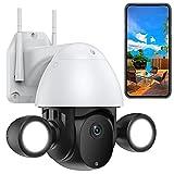 WLAN IP Kamera mit Flutlicht PTZ Überwachungskamera Aussen HD 2MP Scheinwerfer Automatisches Tracking Farbnachtsicht Wasserdicht IP66 Zwei-Wege-Audio Bewegungserkennungsalarm (Kamera+128G-SD-Karte)