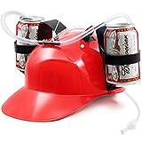 Novelty Place] Trinkhelm für Trinker mit Strohhalm für Bier und Soda - Party Fun - Rot