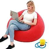 Sitzsack für Gamer, aufblasbares Sofa im Freien, waschbar, für Wohnzimmer, Liege, Schlafzimmer, Sitzsack, sehr weich, ohne Füllstoff, Heimdekoration, Couch, beflockt, aufblasbar, rot