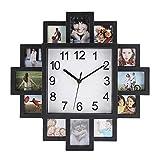 Wanduhr mit Bilderrahmen quadratische Wanduhr mit 12 Bilderrahmen Fotorahmen Bilderrahmenuhr Fotouhr für eigene B