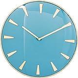 Kare Design Wanduhr Malibu Hellblau Ø40cm, Blau Goldene Uhr für den Wohnbereich, Runde Wanduhr im Glamour Style, (H/B/T) 40,6x40,6x5,1