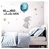 Little Deco Wandtattoo Bis zum Mond & Hase mit Luftballon I Wandbild 83 x 47 cm (BxH) I Kinderzimmer Babyzimmer Aufkleber Sticker Wandaufkleber Wandsticker Kinder DL133