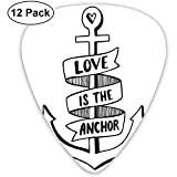 Anker handgezeichnetes Monochromes maritimes Motiv mit Love Is The Anchor Zitat und Herz, Schwarz und Weiß, 12 Stück