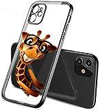 Mixroom - Schutzhülle für iPhone X aus TPU-Silikon, beschichtet mit flachen Rändern, Farbe Schwarz, Muster Giraffe mit Brille 508