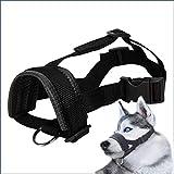 PAPIEEED Weicher Maulkorb für Hunde, verstellbar, verhindert Beißen, Bellen, Kauen, Verhaltenstraining, passend für kleine, mittelgroße und große Hunde